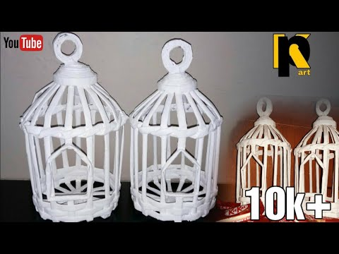 How to make news paper bird cage // room decor // kaushal patel art