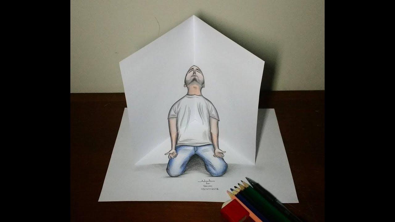 Desenho Em 3d Homem De Joelhos 13 01 2018 Youtube