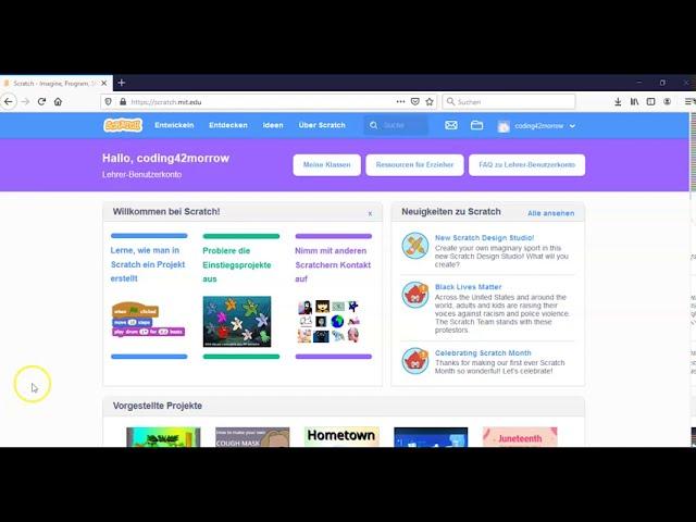 Scratch - Virtuelle Klasse erstellen