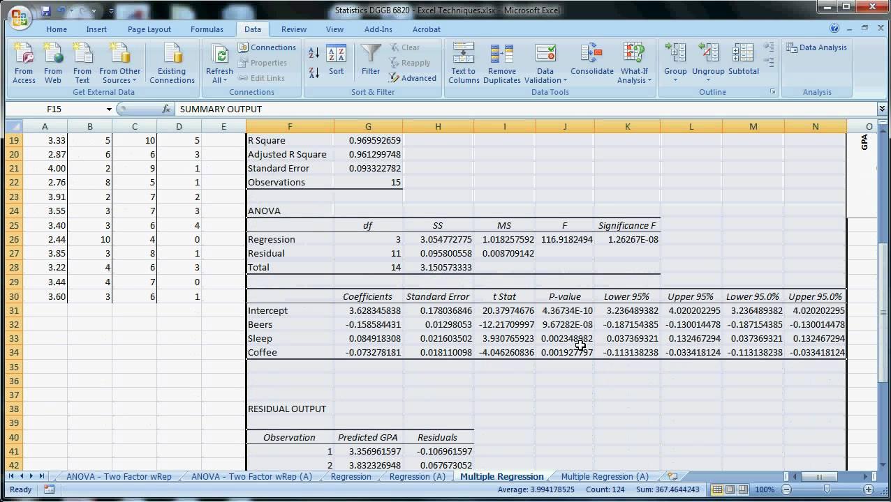 Excel Techniques - 14 - Multiple Regression.avi - YouTube