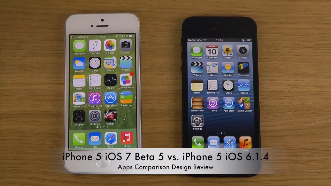 iPhone 5 iOS 7 Beta 5 vs. iPhone 5 iOS 6.1.4 - Apps ...