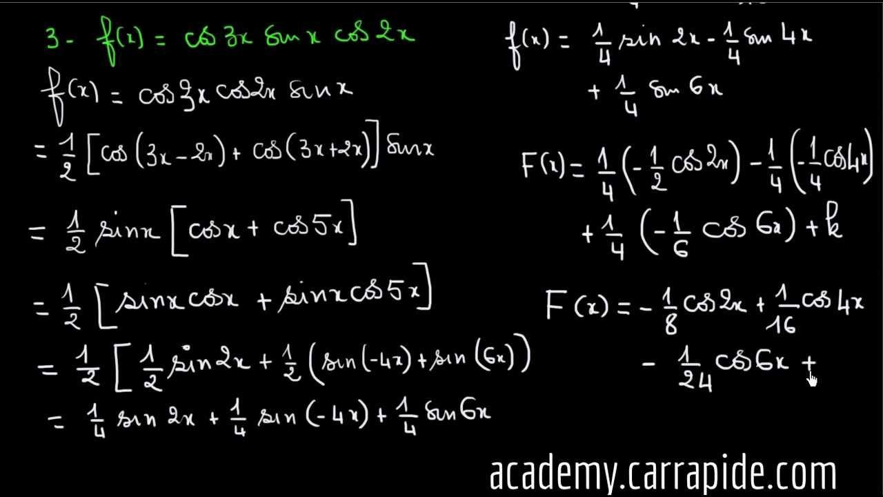 Calcul de Primitives de fonctions trigonométriques sans utiliser une linéarisation - YouTube