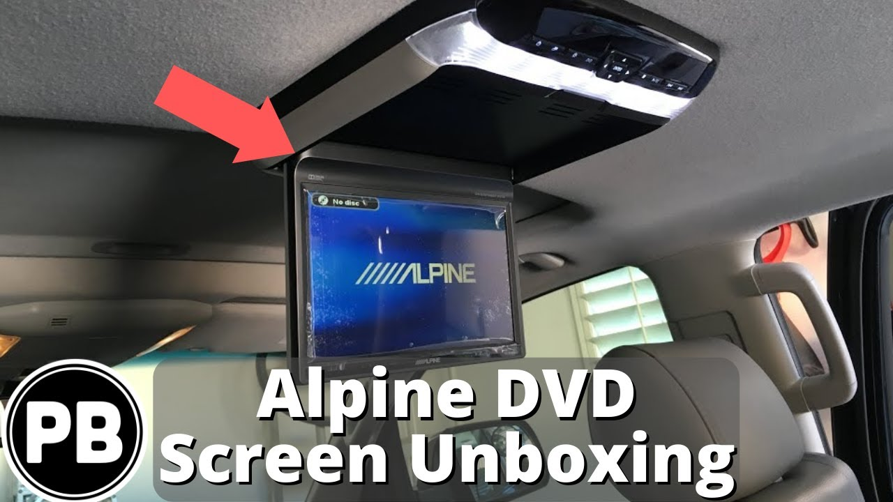 alpine flip down dvd player screen unboxing [ 1280 x 720 Pixel ]