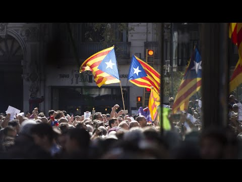 Pro-independence protesters rally after Catalan officials arrested – video report