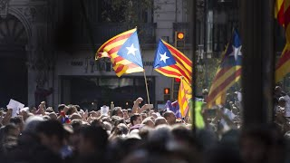 From youtube.com: Thousands of people demonstrated in Barcelona {MID-171269}
