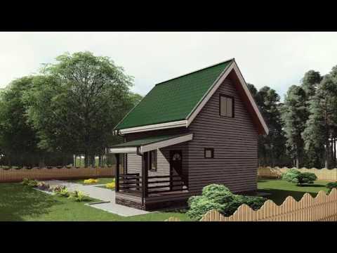 Проект каркасного одноэтажного дома 6*7 с крыльцом и жилым чердаком от Строй и Живи