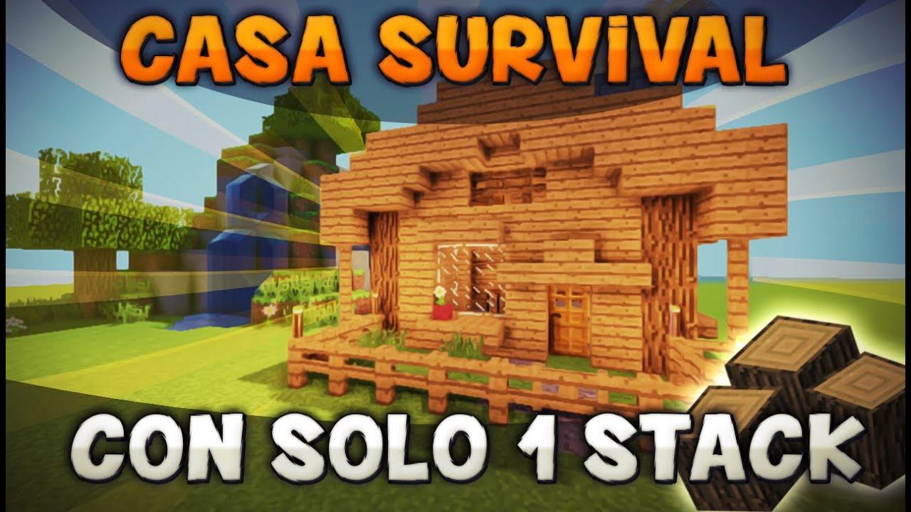 Minecraft como hacer una casa bonita para survival con - Como hacer casa de madera ...
