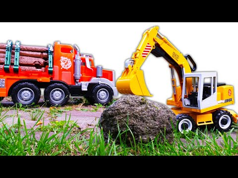 Машины-помощники Лесовоз иГрузовик. Экскаватор помогает убрать камень. Рабочие машинки для детей