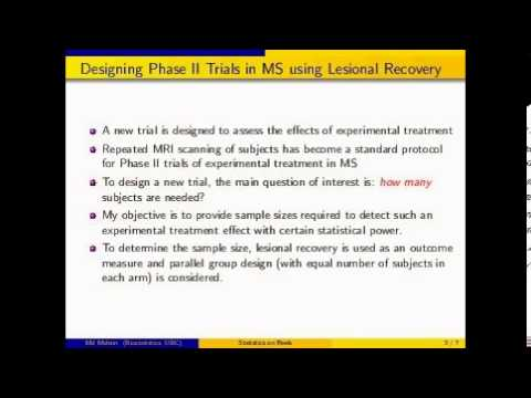 Statistics on Reels: Determination of Sample Size for Phase II Clinical Trials in Multiple Sclerosis