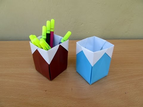 Origami Pen Holder Youtube