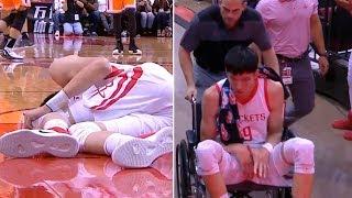 Zhou Qi scary injury | Rockets vs Sharks