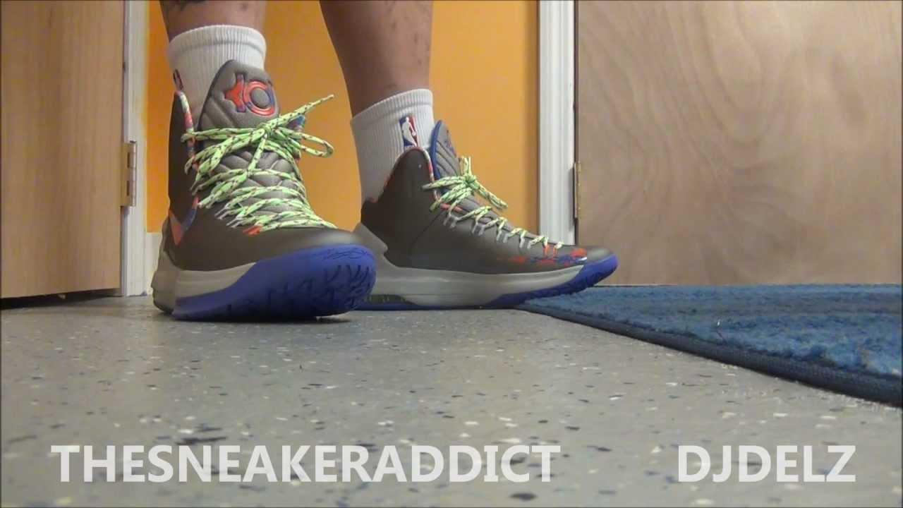 b5763e003573 Nike KD V Splatter Energy 5 Sneaker Review With  DjDelz Plus On Feet -  YouTube