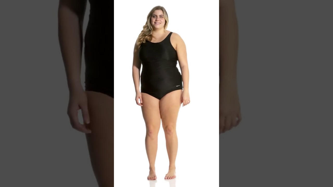 c46aad1beba Sporti Plus Size Polyester Conservative Solid Fitness One Piece Swimsuit |  SwimOutlet.com