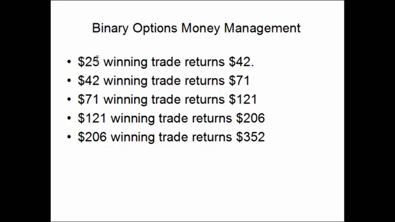 Money management systems for binary options