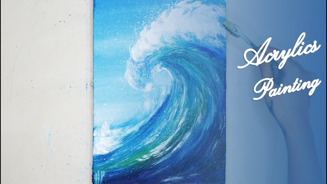 Acrylics Painting #117 Step by Step Draw Wave With Toothbrush Acrylic Painting For Beginners