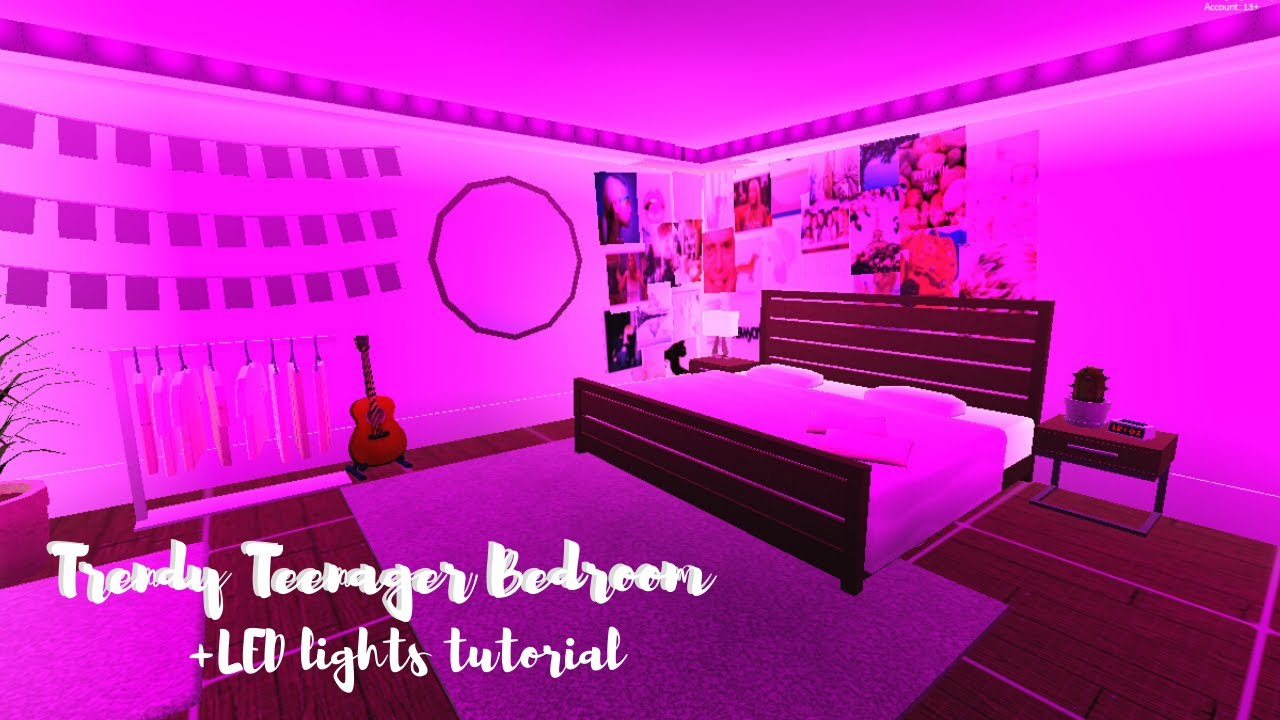Bloxburg Trendy Teen Bedroom Led Lights Tutorial 29k Youtube