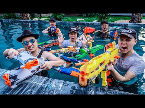 LTT Game Nerf War : Couple Warriors SEAL X Skill Nerf Guns Go Swimming In Villa Fight Rocket Crazy |