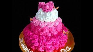 Простой способ украшения торта одной насадкой в домашних условиях. Легко,быстро и просто.