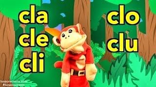 silabas cla cle cli clo clu el mono slabo videos infantiles educacin para nios
