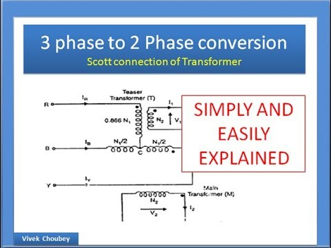 scott connection of 3 phase transformer explained - balanced 3 phase to 2  phase conversion