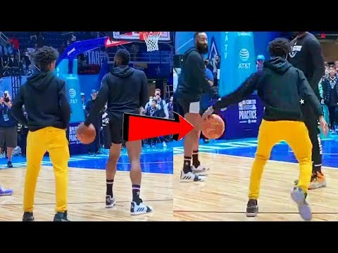 James Harden teaches Dwyane Wade's son how to do a LEFT-HANDED CROSSOVER