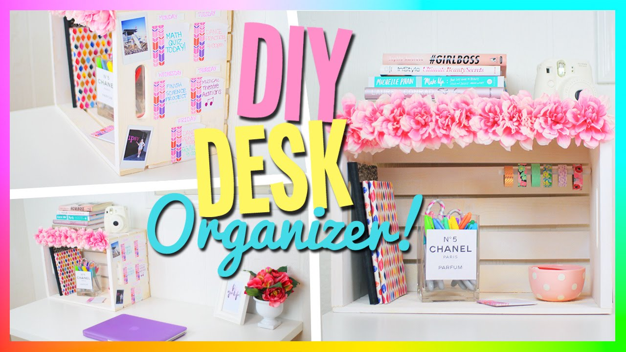 diy desk organizer cute easy youtube. Black Bedroom Furniture Sets. Home Design Ideas