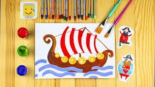 Как нарисовать ДРАККАР - судно викингов/ Как нарисовать КОРАБЛЬ/ Урок рисования для детей