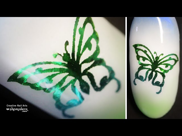 Nail art butterfly foil water decal design with gel polish. Easy how to tutorial