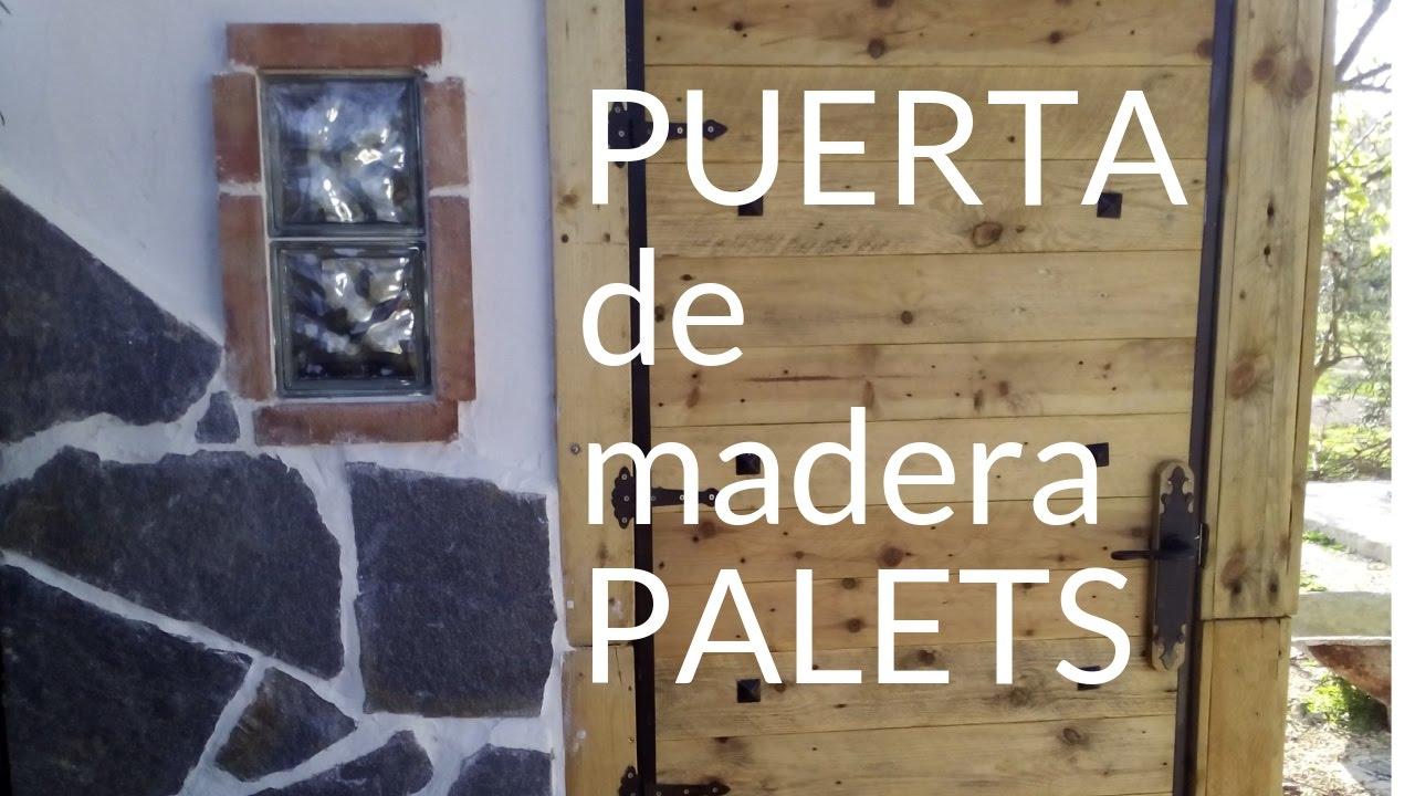 Puerta de madera de palets youtube for Como hacer una puerta de madera para exterior