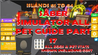 Saber Simulator All Pet guide Part 17 All Pets from Island 61 to Island 64