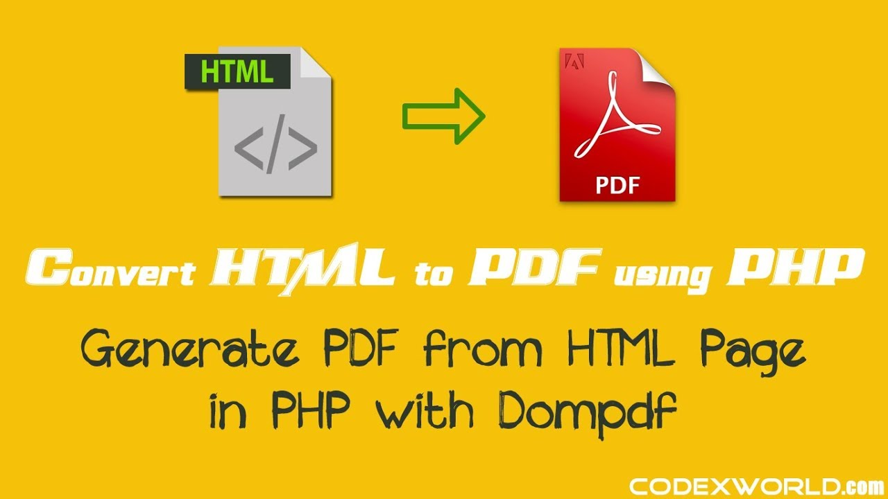 Convert html to pdf in php with dompdf youtube.