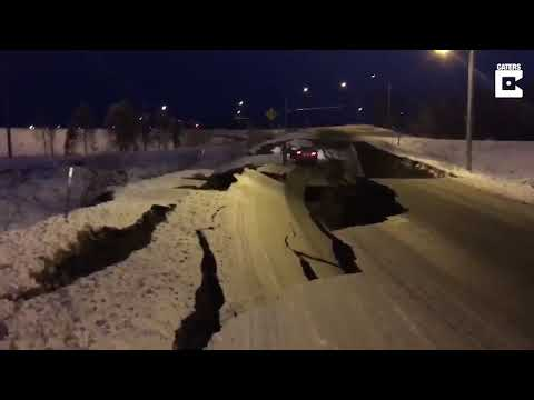 Earthquake In Anchorage Splits Highway