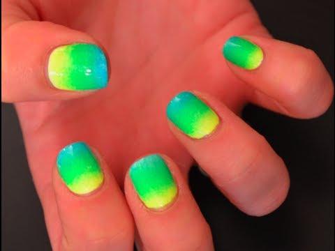 easy neon ombre gradient nail tutorial