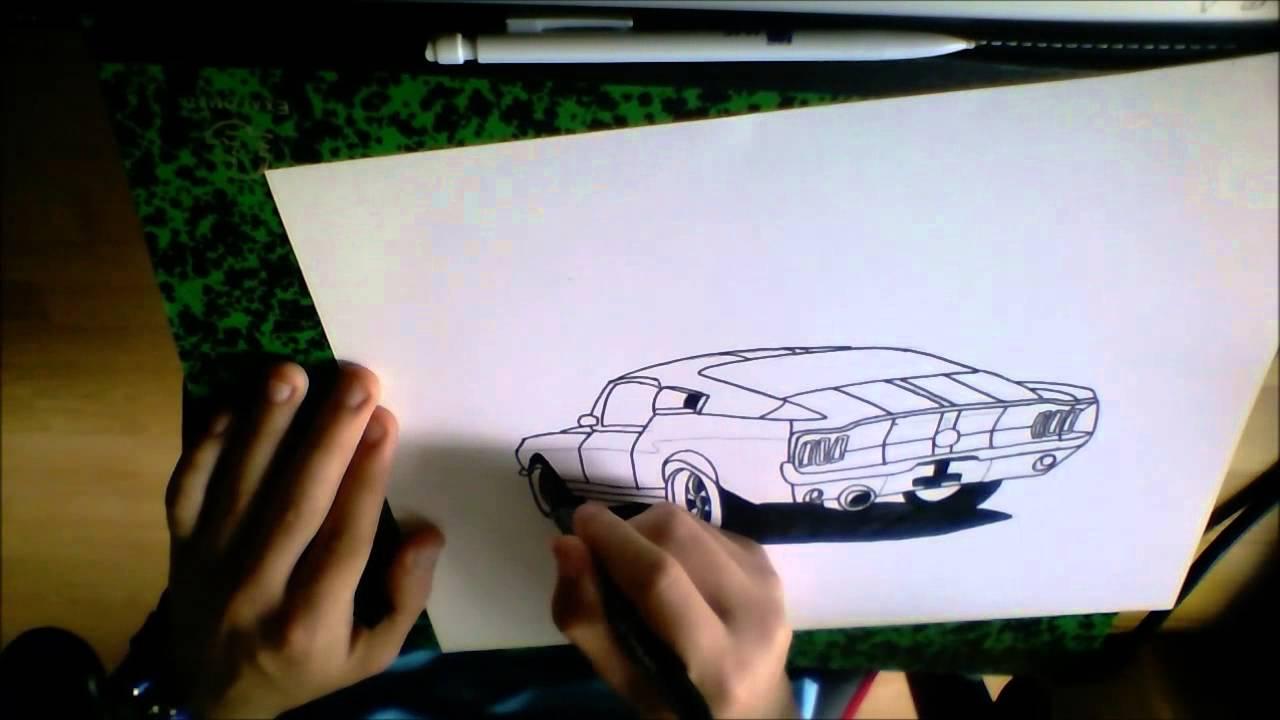 dessin ford mustang de burn racer 1310 speed drawing. Black Bedroom Furniture Sets. Home Design Ideas