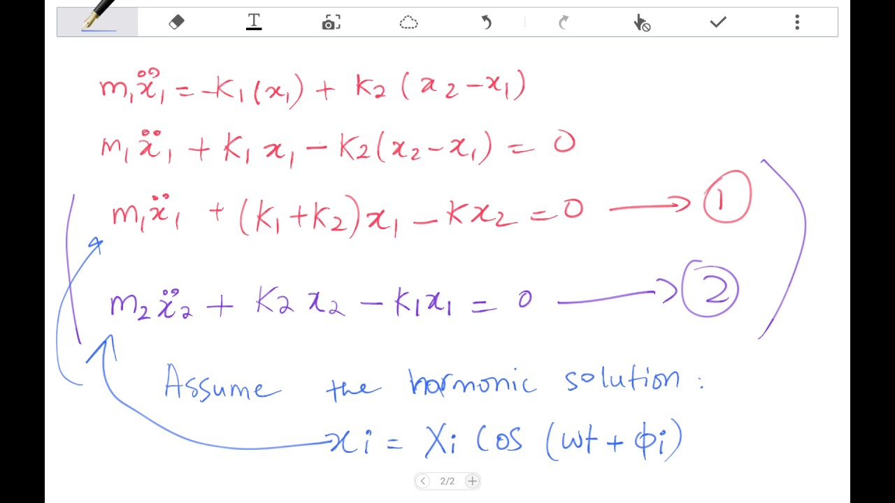Two Degrees of freedom System- Equations of Motions-part 1