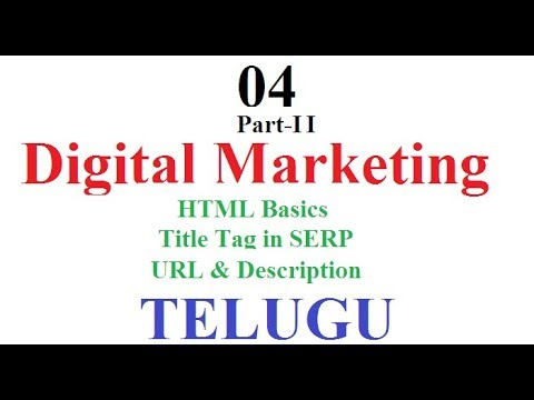 Digital Marketing Class 04 part 02 Telugu | Introduction to HTML | Title Tag Optimization | URL