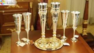 Серебряные фужеры «Свадебные»  | glasko.com.ua