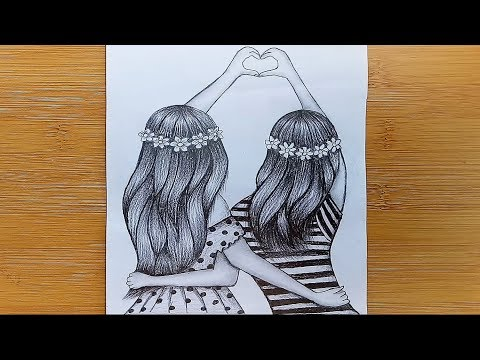 How to Friendship Day Drawing with Pencil Sketch /friendship day drawing thumbnail