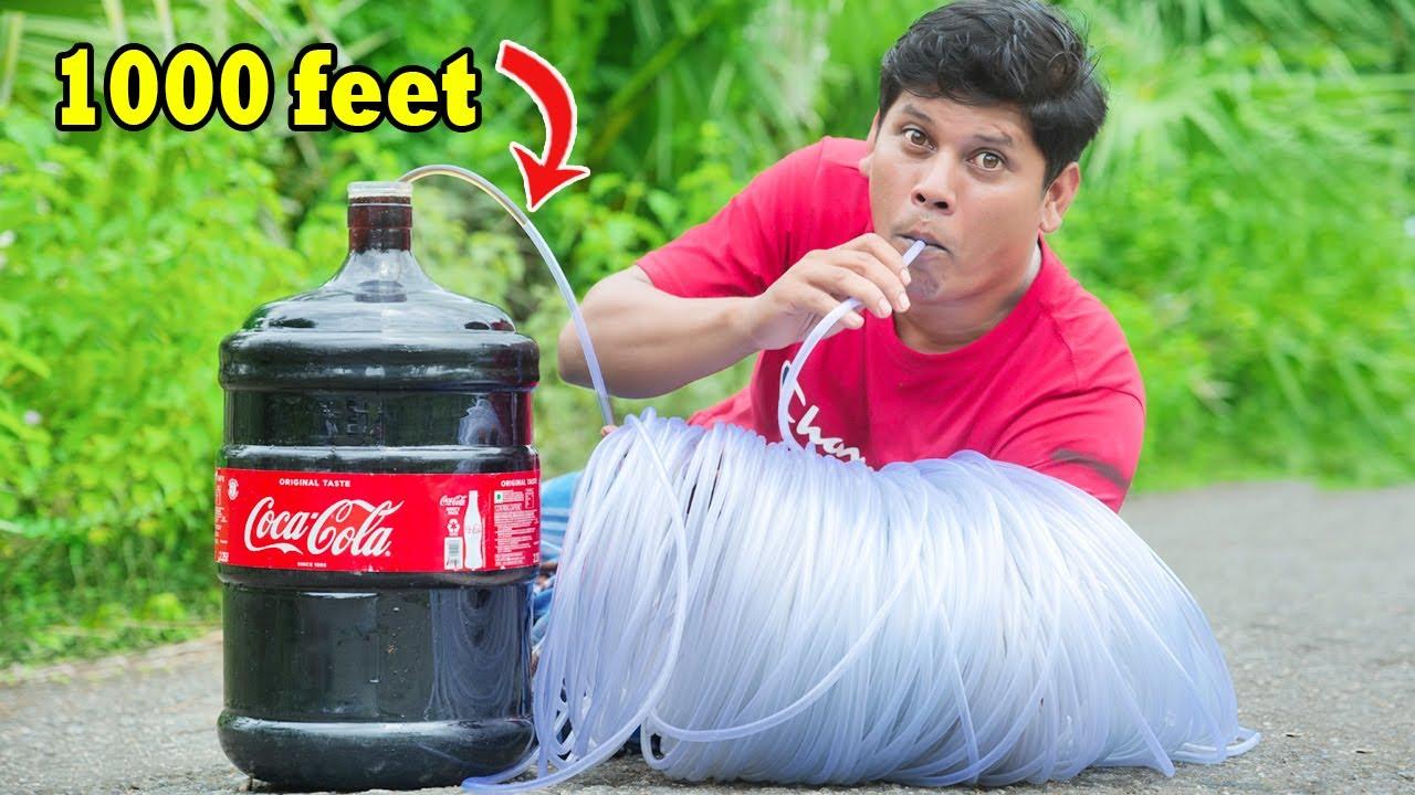 Longest Straw Ever VS Coca Cola | 1000 അടി നീളമുള്ള സ്ട്രോ ഇട്ട് കോള കുടിച്ചാലോ | firoz chuttipara
