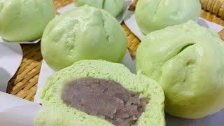 Bánh Bao Lá Dứa Khoai Môn Thơm Ngon Dễ Làm - Pandan Buns with Taro Filling | Tam Le