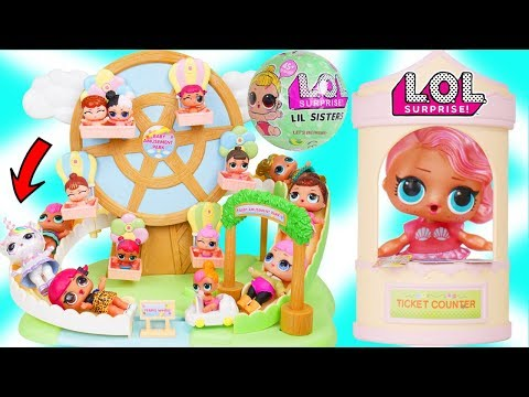 LOL Surprise Doll visit Baby Fair! Ferris Wheel Roller Coaster for Lil Sisters Bunk Beds - Toy Video
