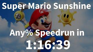 Super Mario Sunshine Any% Speedrun in 1:16:39