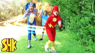 SUPER SPEED RACE CHALLENGE turns The Flash vs Sonic The Hedgehog! SuperHeroKids Funny Family Videos