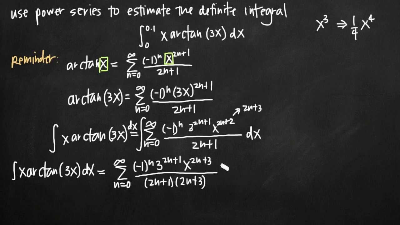 using power series to estimate a definite integral  kristakingmath