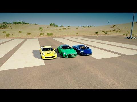 Forza Horizon 3: Mercedes-AMG GTR vs McLaren 570s vs Corvette Z06 - DRAG RACE!