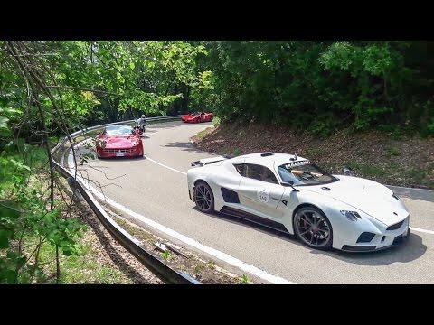 Drifting Ferrari F12, and Many More Supercars Seen in Turin, Italy, Gran Premio Parco del Valentino