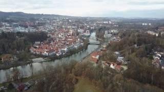 Kempten (Allgäu) - Luftbildaufnahme über Engelhaldepark (2) / Iller
