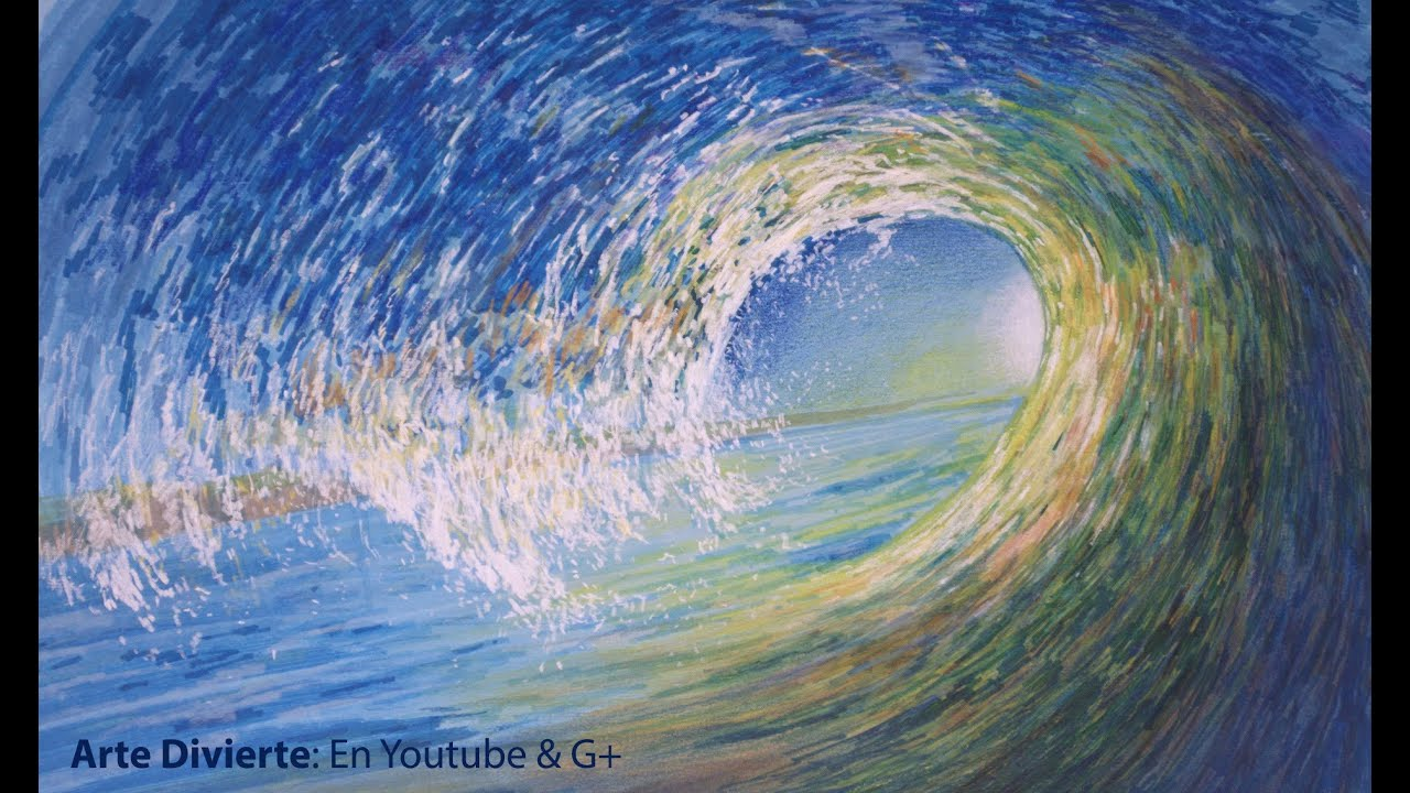 Cmo dibujar una ola de mar en movimiento Arte Divierte  YouTube