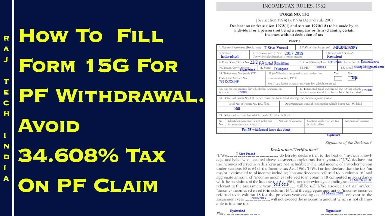 How To Fill Form 15G For PF Withdrawal