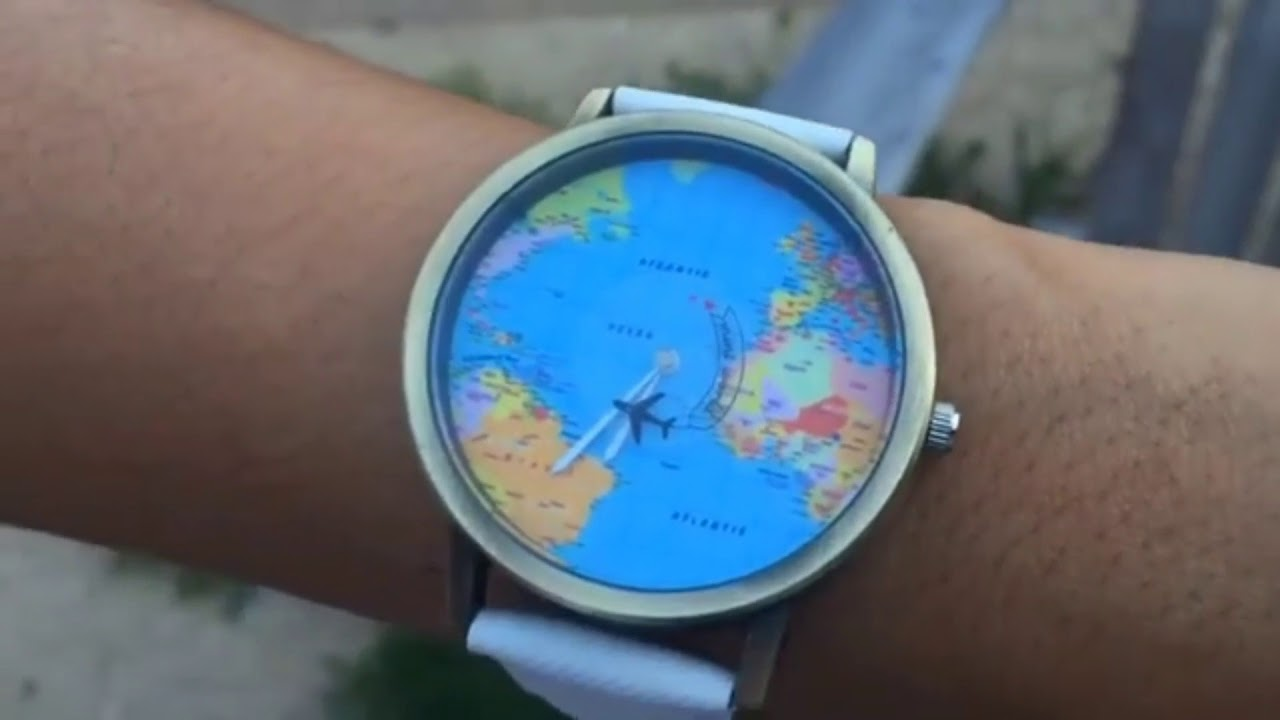 World map watch with flying airplane youtube world map watch with flying airplane gumiabroncs Images